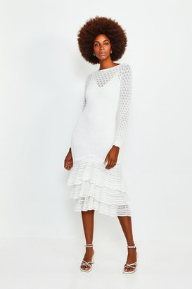 Karen Millen Long Sleeve Knitted Ruffle Hem Midi Dress