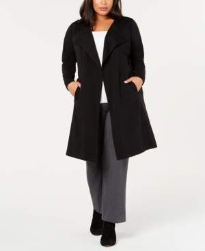 Belldini Plus Size Ponte Trench Jacket