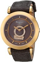 """Salvatore Ferragamo Women's FQ4080013 """"Minuetto"""" Gold Ion-Plated Diamond-Accented Watch with Leather Band"""