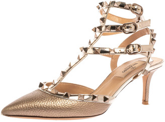 Valentino Metallic Broze Leather Rockstud Ankle Strap Sandals Size 36.5