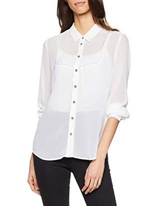 GUESS Women's Ls Tilly Shirt Casual (True White A000 Twht), Large