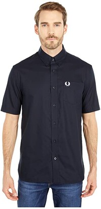 Fred Perry Short Sleeve Oxford Shirt (Navy) Men's Clothing