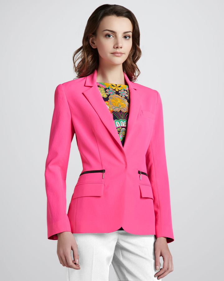 Nanette Lepore Superstar One-Button Blazer, Shocking Pink