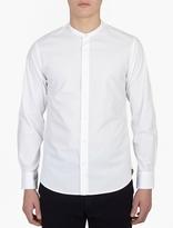 Officine Generale White Cotton Collarless Shirt