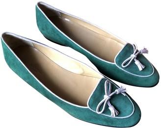 Hermes Green Suede Flats