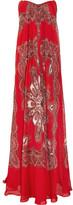 Alexander McQueen Strapless Paisley-print Silk-chiffon Gown - Red