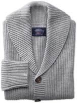 Light Grey Rib Shawl Collar Wool Cardigan Size Large By Charles Tyrwhitt