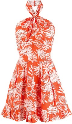 Christian Dior Pre-Owned Leaf Print Mini Dress