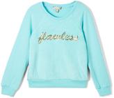 Speechless Aqua 'Flawless' Fuzzy Sweatshirt - Girls