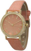 OLIVIA PRATT Olivia Pratt Womens Gold-Tone Rhinestone Accent Peach Denim Faux Leather Strap Watch 14087