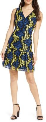 Sam Edelman Embroidered Sleeveless Mesh A-Line Dress
