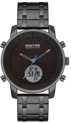 Kenneth Cole Reaction Men's Analog Digital Display Black Case Black Dial Black Bracelet Watch