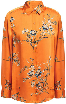 Equipment Essential Floral-print Washed-satin Shirt