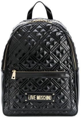 Love Moschino Quilted Logo-Plaque Backpack