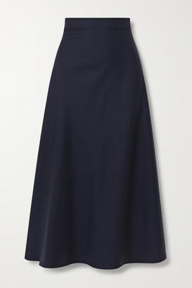Giuliva Heritage Collection The Ada Herringbone Wool And Silk-blend Midi Skirt - Navy