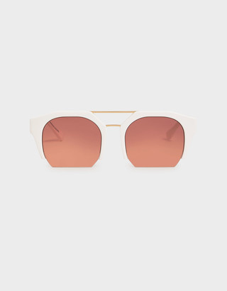Charles & Keith Cut-Off Frame Geometric Sunglasses