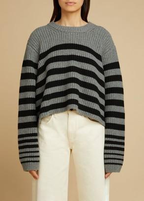 KHAITE The Dotty Sweater in Smoke and Black Stripe