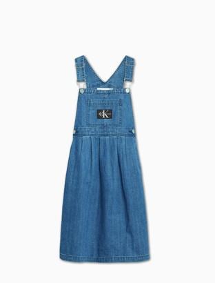 Calvin Klein Girls Mid-Blue Denim Overalls Midi Dress