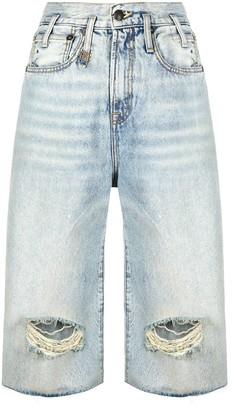 R 13 Ripped Denim Shorts