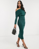 Asos Design DESIGN ruched midi dress in forest green