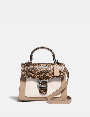 Coach Tabby Top Handle 20 In Colorblock With Snakeskin Detail