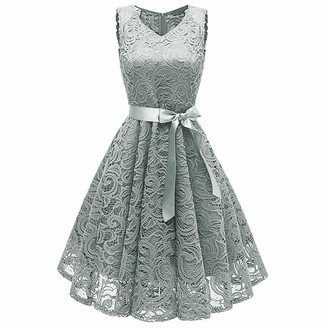 KYEYGWO Vintage Lace Dress for Woman High Waist Cocktail Party Evening Swing Dresses Navy M
