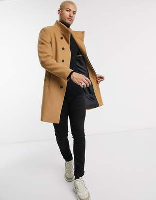 Asos Design DESIGN funnel neck wool mix jacket in camel-Tan