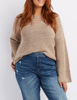 Charlotte Russe Plus Size Distressed Bell Sleeve Sweater