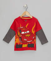 Children's Apparel Network Red Cars 'Go! Go!' Layered Tee - Toddler