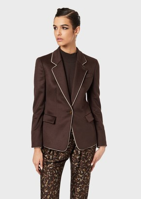 Giorgio Armani Cashmere Single-Breasted Jacket With Contrasting Piping