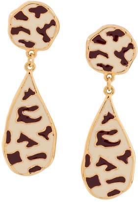 Christian Dior Pre-Owned Zebra Enamel Earrings