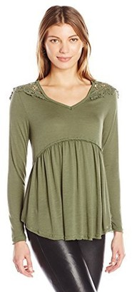 Taylor & Sage Women's Long Sleeve Top with Lace Crochet Shoulder