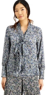 INC International Concepts Inc Printed Bow-Neck Blouse, Created for Macy's