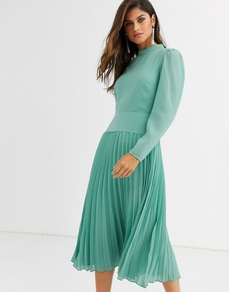 ASOS DESIGN high neck pleated midi dress with long sleeves in sage green