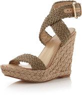 Stuart Weitzman Alex Crochet Wedge Sandal, Swamp
