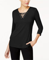 INC International Concepts Petite Lace-Up Top, Created for Macy's
