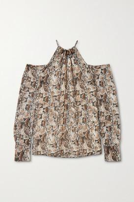 Altuzarra Elijah Cold-shoulder Bead-embellished Snake-print Silk-blend Blouse - Ivory