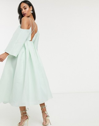 ASOS EDITION cross back midi dress in organza check