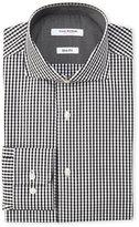 Isaac Mizrahi Black Gingham Check Slim Fit Dress Shirt