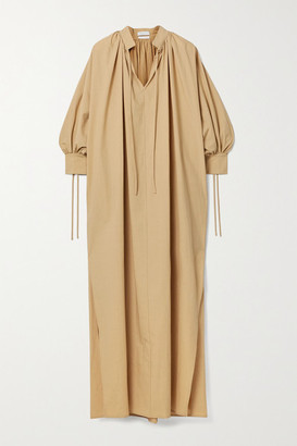 Deveaux Whitney Cotton-poplin Maxi Dress - Beige