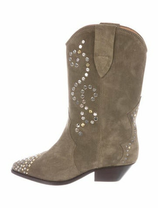 Isabel Marant Suede Studded Accents Western Boots w/ Tags Green