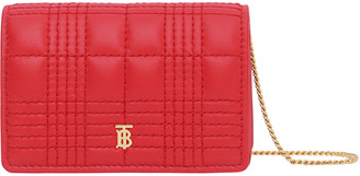 Burberry Jessie Check Quilted Smooth Leather Wallet on Chain