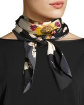 Lafayette 148 New York Artful Floral Silk Scarf, Black Multi