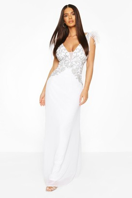 boohoo Occasion Hand Embellished Feather Maxi Dress