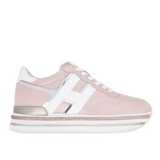 Hogan Sneakers 468 Midi Platform Sneakers In Leather With Big H And Glitter Piping