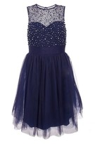 Dorothy Perkins Womens *Quiz Navy Mesh Embellished Dress