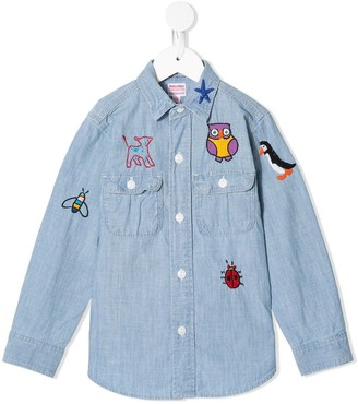 Denim Dungaree Embroidered Detail Curved Hem Jacket