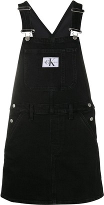 Calvin Klein Jeans Logo-Patch Dungaree Dress