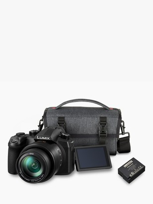 Panasonic Lumix DC-FZ1000 II Bridge Camera, 4K Ultra HD, 20.1MP, 16x Optical Zoom, Wi-Fi, Bluetooth, OLED Viewfinder, 3 Touch Screen with Shoulder Bag & Extra Battery Pack