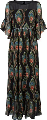 Traffic People In The Dark Garden Boho Maxi Dress In Black